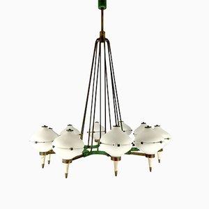 Lámpara de araña italiana Mid-Century de latón y vidrio opalino de 10 brazos de Stilnovo