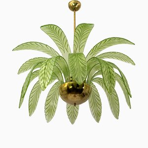 Modern Chandelier with Palm Leaves in Murano Glass and Brass, 1970s