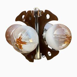 Hängelampe aus Holz & verchromtem Stahl mit 4 Leuchten von Mazzega, Italien, 1960er