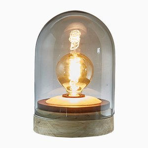 Globe Lampe aus Pappelholz und Cocobolo gedreht und Rauchglas