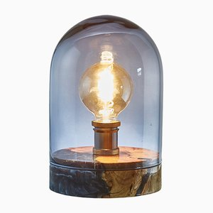 Olive Wood and Resin Globe Lamp with Turned and Blue Smoked Glass