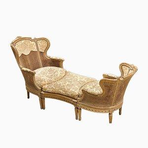 Dormeuse Wohnzimmer Set mit Armlehnstühlen & Fußhocker aus Stroh, Frankreich, 1850er