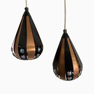 Lampade da soffitto in palissandro di Werner Schou per Coronell, Danimarca, anni '60, set di 2