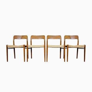 Sedia da pranzo in teak di Niels O. Möller per JL Møllers, anni '60, set di 4