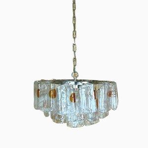 Großer Murano Glas Chrom Kronleuchter, 1960er