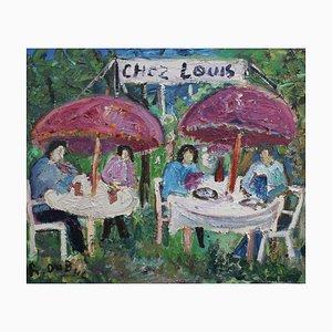 Almuerzo en Chez Louis, Roland Dubuc, años 70, óleo sobre lienzo