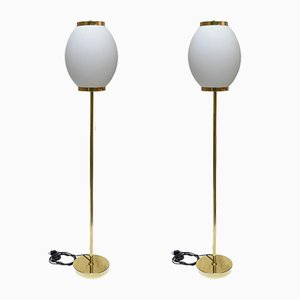 Brass and Glass Italian Floor Lamps, 1980s, Set of 2
