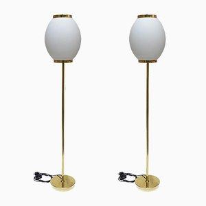 Lámparas de pie italianas de latón y vidrio, años 80. Juego de 2