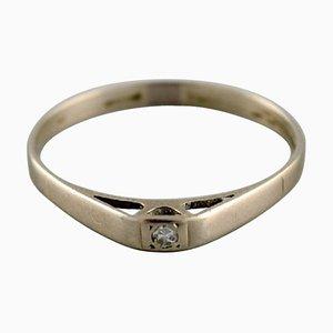 Vintage Swedish Ring in 18 Carat White Gold