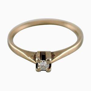 Anillo sueco vintage en oro blanco de 18 kt con diamante