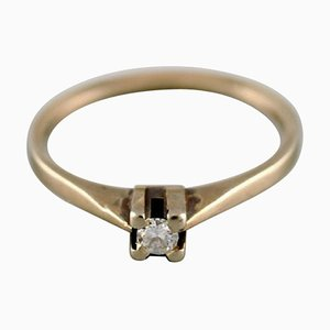 Swedish Vintage Ring in 18 Carat White Gold with Diamond
