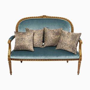 Louis XVI Stil Salon Sofa aus vergoldetem Holz
