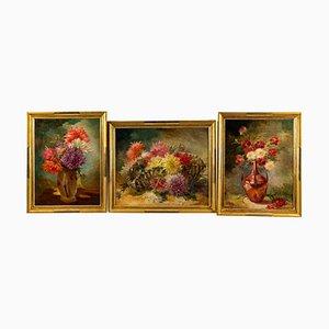 Tríptico de óleo sobre lienzo representando bodegones de Gaston Noury. Juego de 3