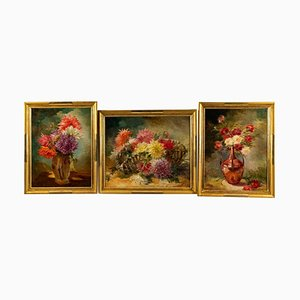 Triptych of Oil on Canvas Representing Still Lifes by Gaston Noury, Set of 3