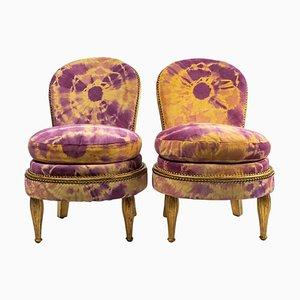 Kleine Vergoldete Buchenholz Armlehnstühle, 2er Set
