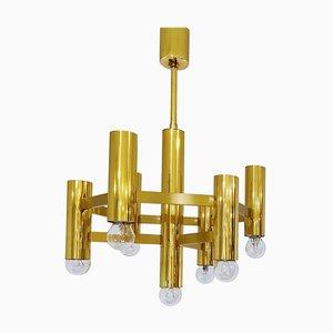 Lámpara de araña de latón de Gaetano Sciolari, años 70