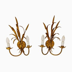 Vintage Gilt Metal Sheaf of Wheat Wall Lamps, 1960s, Set of 2