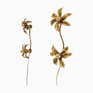 Brass Regency Flower Wall or Ceiling Light in the Style of Willy Daro, 1970s, Set of 2