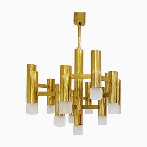 Brass Chandelier by Gaetano Sciolari, 1970s