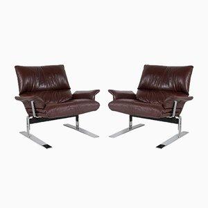 Mid-Century Sessel aus Chrom & braunem Leder von Pieff, 2er Set