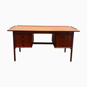 Brauner Mid-Century Teak Schreibtisch mit Schubladen