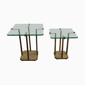 Tavolino in ottone e vetro di Peter Ghyczy, anni '70