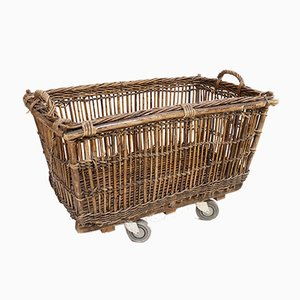 French Antique Wicker Basket 19th century