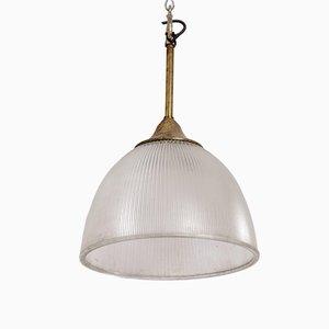 Antike industrielle prismatische Deckenlampe aus Glas