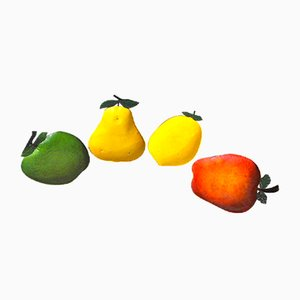 Portafrutta in metallo smaltato, Italia, anni '40, set di 4