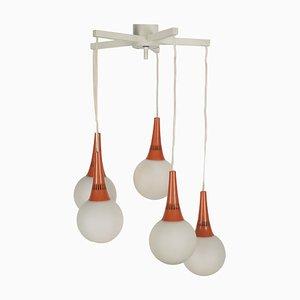 Space Age Orange & White 5-Orb Pendant Lamp