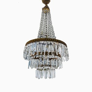 Lámpara de araña italiana estilo Imperio vintage de cristal de Murano, años 70