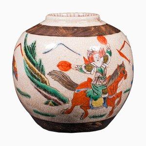 Kleine antike japanische Edo Blumenvase aus Keramik, 1850er