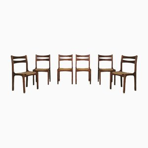 Chairs in Oak Wood and Intertwined Rope by Guillerme Et Chambron, 1960s, France, Set of 6