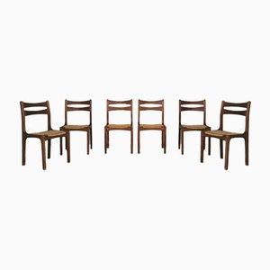 Sedie in legno di quercia e corda intrecciata di Guillerme Et Chambron, Francia, set di 6