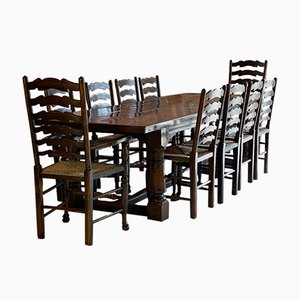 Large 18th Century Oak Refectory Dining Table & Chairs, Set of 13