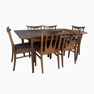 Tavolo da pranzo Mid-Century allungabile con sedie Brasilia di Kofod Larsen per G-Plan, set di 7