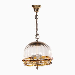 Hollywood Regency Hanging Lamp with Murano Glass from Fischer Leuchten, 1970s