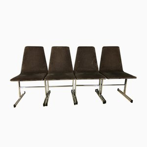 Mid-Century Chrome Dining Chairs by Tim Bates for Pieff Lisse, Set of 4