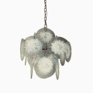 Vintage Italian Chandelier with White Murano Glass Discs in the Style of Vistosi, 1970s
