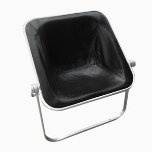 Plona Chair in Black Leather by Giancarlo Piretti for Castelli / Anonima Castelli
