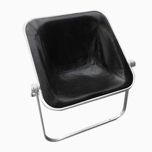 Plona Stuhl aus schwarzem Leder von Giancarlo Piretti für Castelli / Anonima Castelli