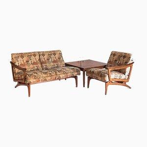 Teak Sofa Set mit Niedrigem Tisch von Edvard Valentinsen für Fraska, Denmark and France, 1960er, 2er Set