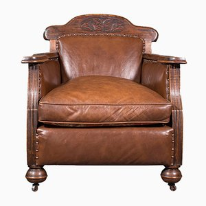 Club chair edoardiane antiche in pelle, set di 2