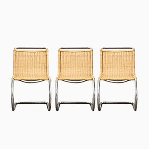 Sedie da pranzo MR10 di Mies van der Rohe per Thonet, anni '70, set di 3