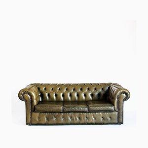 Chesterfield Leder 3-Sitzer Sofa, Frankreich, 1980er
