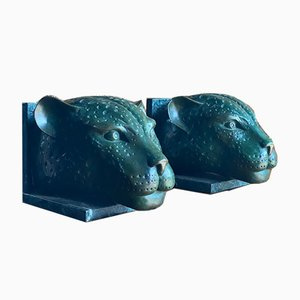 Cabezas de guepardo francesas Art Déco de bronce y mármol al estilo de Max Le Ferrier. Juego de 2