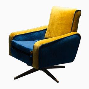 Vintage Blue Velvet Swivel Chair, 1960s