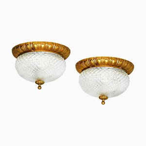 Einbau-Deckenlampen, Frankreich, 1960er, 2er Set
