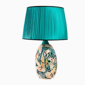 Lampada in ceramica con paralume in seta, Italia