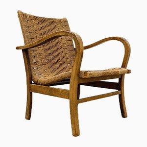 Butacas alemanas Bauhaus de madera y ratán de Erich Dieckmann, años 20
